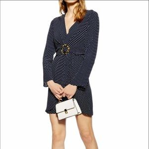 New TOPSHOP Navy Polka Dot Tortoise Ring Minidress